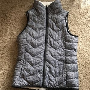 Faux fur lined black and white vest